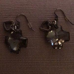 Smoky colored glass cross earrings